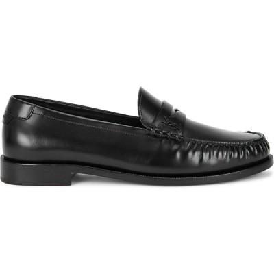 イヴ サンローラン Saint Laurent メンズ ローファー シューズ・靴 black leather penny loafers Black