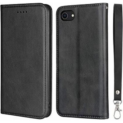 iPhone SE ケース 第2世代 手帳型 ストラップ付き 高級PUレザー 耐衝撃 マグネット財布型 カードポケット 指紋防止 高級感 アイ ...