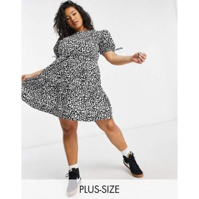 インフルエンス Influence Plus レディース ワンピース Aライン ワンピース・ドレス Tiered Mini Dress In Animal Print ブラック/ホワイト