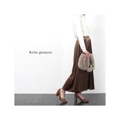 {Riche glamour}ベロアプリーツスカート シンプル 可愛い トレンド おしゃれ 年間使用 着やせ 送料無料(943)