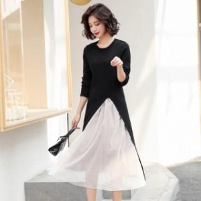 ドレス ロングドレス ツーピース 大きいサイズ  ラウンドネック カットソー シースルースカート ロング丈 レディース
