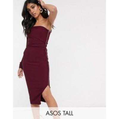 エイソス レディース ワンピース トップス ASOS DESIGN Tall one shoulder bandage midi dress in plum Plum
