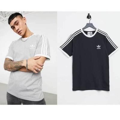 アディダス シャツ ストライプ クルーネック Tシャツ adidas Originals 3ストライプのadicolorTシャツ