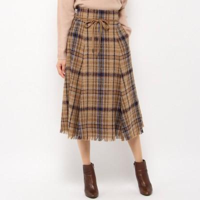 チェック柄裾フリンジスカート キャメル S(0) M(1)