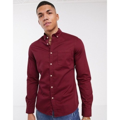 エイソス メンズ シャツ トップス ASOS DESIGN stretch slim denim shirt in burgundy Burgundy