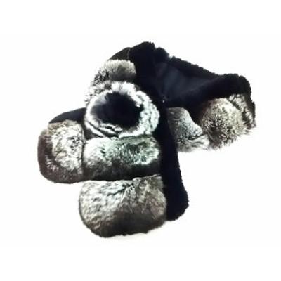 レリアン Leilian レディース - 黒×白×ダークブラウン ティペット チンチラ×ラビット(ラパン)【中古】20210412