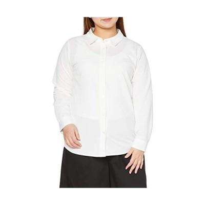セシール シャツ プランプ 大きいサイズ カットソーレギュラーシャツ 長袖 グラマー用サイズ有 レディース MW-3349 オフホワイト L