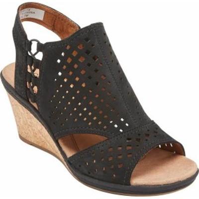 ロックポート レディース サンダル シューズ Women's Rockport Cobb Hill Janna Side Bungee Wedge Sandal Black Leather