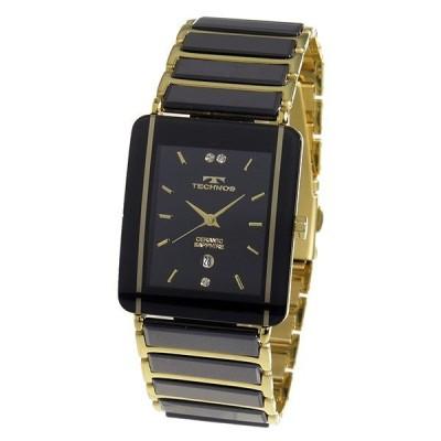 テクノス メンズ ブラック ゴールド TSM903GB 腕時計