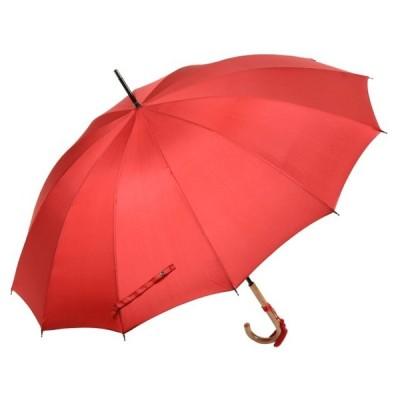 おしゃれな浅張りフォルムのラタン(籐)ハンドル 12本骨 レディース長傘(レッド) 親骨55cm 雨傘 かさ工房ワカオ Tokyo Made WAKAO 婦人 女