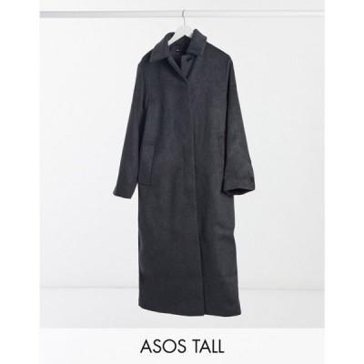 エイソス ASOS Tall レディース コート アウター Asos Design Tall Button Through Coat In Dark Grey ダークグレー
