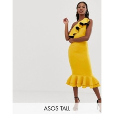 エイソス レディース ワンピース トップス ASOS DESIGN Tall one shoulder ruffle structured pep hem bodycon dress Yellow