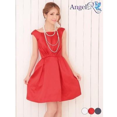 ドレス キャバ キャバドレス ワンピース AngelR 背中見せギャザーサテンノースリAライン ミニドレス 赤 紺 白 シンプル 無地 モノトー