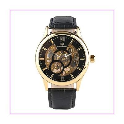 JLYSHOP 高級 クラシック スケルトン 機械式腕時計 メンズ ゴールド ステンレススチール スポーツ メカニ