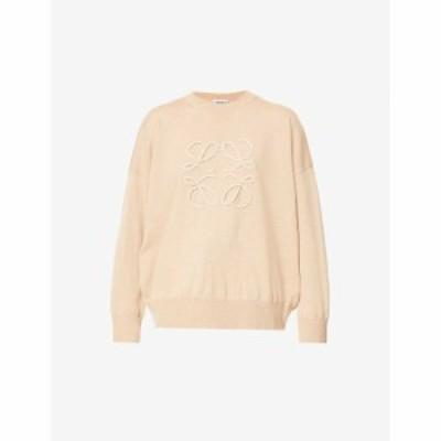 ロエベ LOEWE レディース ニット・セーター トップス Logo-embroidered wool-blend jumper BEIGE CAMEL