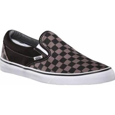 バンズ メンズ スニーカー シューズ Vans Classic Slip-On Black/Pewter Checkerboard