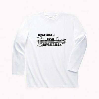 文鳥 長袖Tシャツ #2 「ウッドストック文鳥Vol.2」メンズ  ホワイト 綿100%
