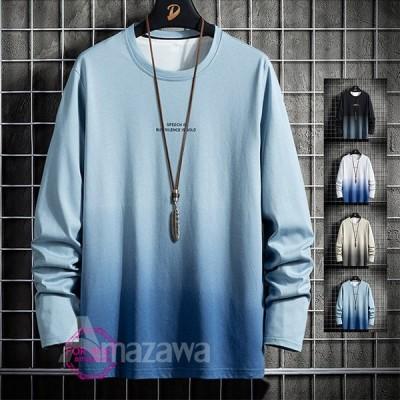 長袖Tシャツ メンズ ロンT 切り替え クルーネック Tシャツ インナーTシャツ 大きいサイズ 春