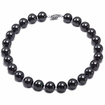 """JYXJEWERLRY Women Black Shell Pearl Necklace 8mm Round South Seashell Pearl Beads Necklace for Lady 18"""""""