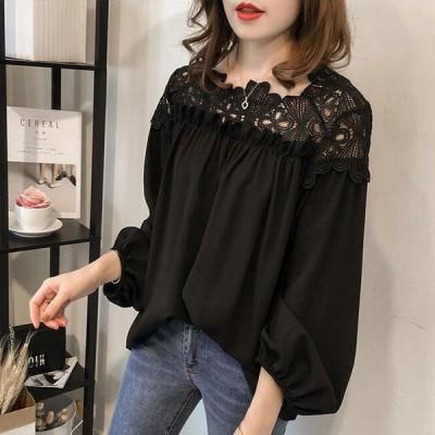レース使いの軽やかブラウス ブラック Mサイズ ファッション アパレル 海外 韓国 インポート セレクト スタイル