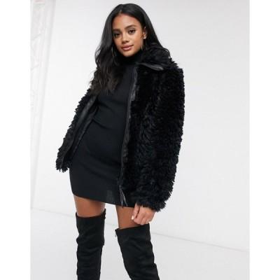 ミスガイデッド レディース コート アウター Missguided boxy oversized borg coat in black Black