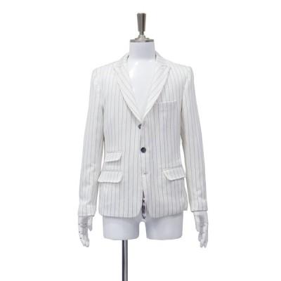 ジャケット シングル メンズ サイドベンツ 白 黒 ストライプ S 44 サイズ