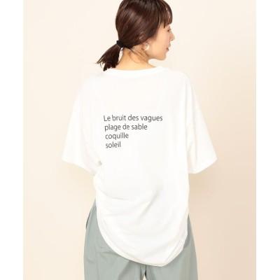 (2nd NOLLEY'S/セカンドノーリーズ)ドライ天竺ボリュームロゴTシャツ/レディース オフホワイト