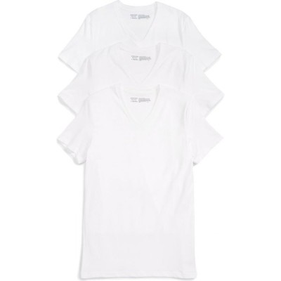 ノードストローム NORDSTROM メンズ Tシャツ 3点セット Vネック トップス Trim Fit 3-Pack Stretch Cotton V-Neck T-Shirt White