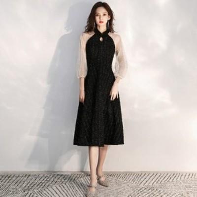 パーティードレス ミモレ丈 膝丈 ドレス 黒 袖あり きれいめ 結婚式 お呼ばれ ドレス 大きいサイズ xl 2xl 3xl バイカラー おしゃれ 異素