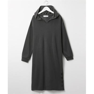 裏起毛キーネック裾ボタンパーカーワンピース (ワンピース)Dress