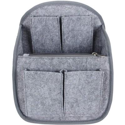 Luxja リュック用 バッグインバッグ フェルト 縦 小型 自立 軽量 持ち手付き 収納 整理 インナーバッグ グレー