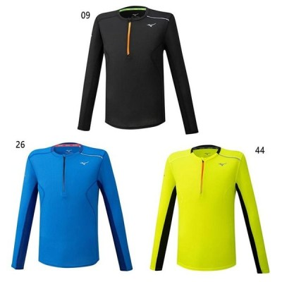 ミズノ メンズ ドライエアロフローハーフジップシャツ ジョギング マラソン ランニング ウェア トップス 長袖 再帰反射 通気 J2MA0520