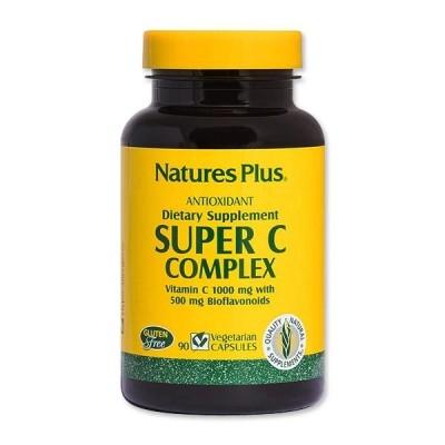 スーパー C コンプレックス ビタミンC 1000mg with バイオフラボノイド 500mg ベジタリアンカプセル 90粒 Natures Plus(ネイチャーズプラス)