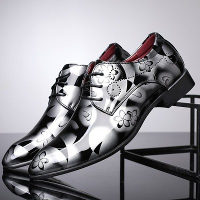 シューズ メンズ 紳士靴 ビジネスシューズ 総柄 おしゃれ カジュアル フォーマル 大きいサイズあり レザーシューズ フェイクレザー ツヤ 4色