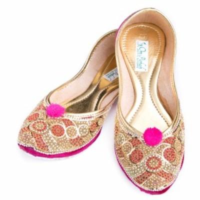 ゴージャス ラインストーンのマハラニフラットシューズ / パンプス 靴 ペッタンコ靴 インド アジア サンダル レディース エスニック衣料