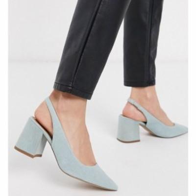 エイソス ASOS DESIGN レディース ヒール シューズ・靴 Samson slingback mid heels in denim ウォッシュデニム