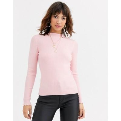 ウエアハウス レディース ニット・セーター アウター Warehouse sweater with funnel neck in pink