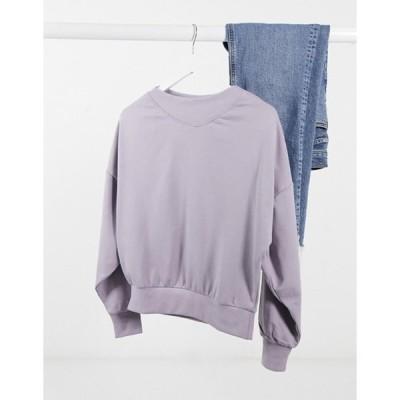 ジェイディーワイ レディース シャツ トップス JDY oversized sweatshirt with rib neck in purple