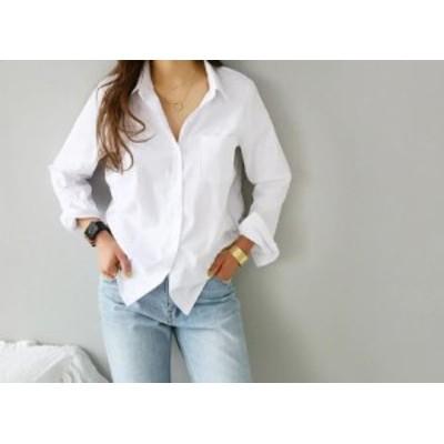 ホワイト ブラウス シャツ Vネック 長袖 7分袖 ゆったり 春夏 デート トレンド ナチュラル 白シャツ スタイルアップ