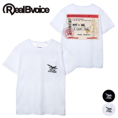 リアルビーボイス Tシャツ メンズ オリジナル デザイン 夏 海 白 黒 RBV AIR TICKET POCKET T-SHIRT RealBvoice 10231-10929
