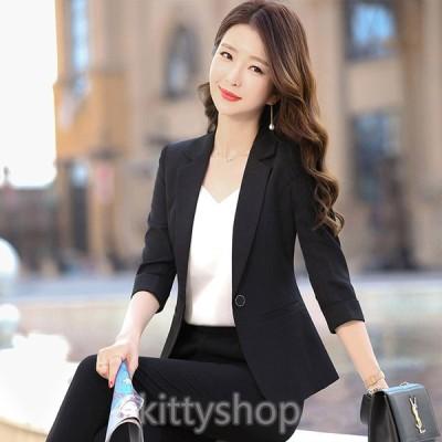 サマージャケット レディース ブラック オフィス ジャケット 7分袖 通勤 OL 白ジャケット 夏 薄手 テーラードジャケット ビジネス 30代 40代