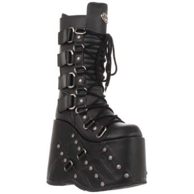"""ブーツ シューズ 靴 デモニア DEMONIA メンズ 7"""" Platform Goth Cyber GOGO Puck Lace Up ニーハイ ブーツ STACK-318 Blk Pu"""