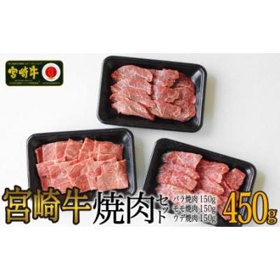 宮崎牛焼肉セット450g(ウデ150g・バラ150g・モモ150g)
