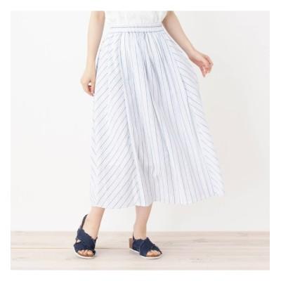 【シューラルー/SHOO・LA・RUE】 バイヤス切り替えストライプスカート