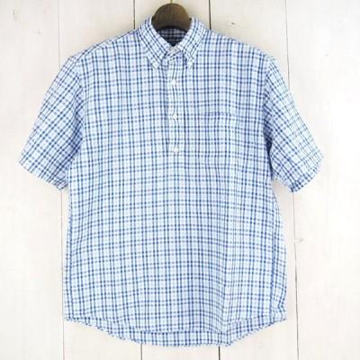 ▽ブルックスブラザーズBrooks Brothers*ギンガムチェック柄ハーフボタン半袖シアサッカーシャツ(S)ブルー系【中古】t201208041