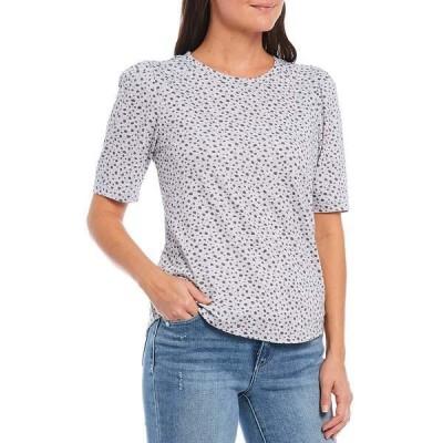 デモクラシー レディース Tシャツ トップス Allover Dotted Print Puff Sleeve Knit Tee Heather Grey