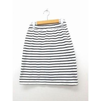 【中古】アナザーエディション ANOTHER EDITION アローズ スカート 台形スカート ミニ 綿 コットン ボーダー ホワイト 白