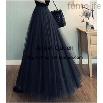 春夏チュールスカートレディース3重チュールロング丈スカート3色美しいAラインボンボンドレス80cm¥/90cm¥/100cm
