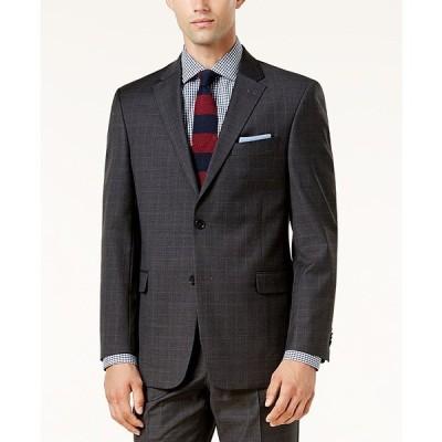 トミー ヒルフィガー ジャケット&ブルゾン アウター メンズ Men's Modern-Fit TH Flex Performance Plaid Suit Jacket Dark Gray Plaid
