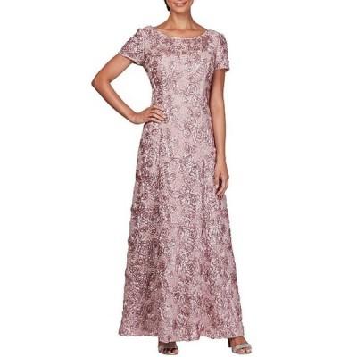 アレックスイブニングス レディース ワンピース トップス Sequined-Lace Rosette-Rose Gown